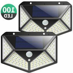 2x Lampe Solaire à 100 LED Détecteur de Mouvement Spots É