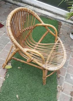 Fauteuil enfant osier Chaise rotin VINTAGE 1960-70 Salon de