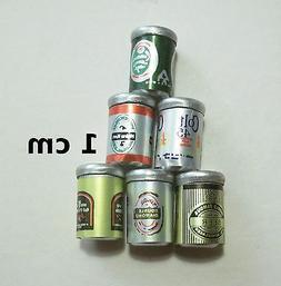 lot de 6 cannettes miniature,maison de poupée,vitrine,bar,