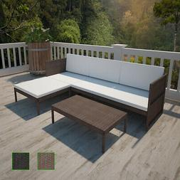 Marron/Noir Salon d'extérieur avec canapé 3 places en poly