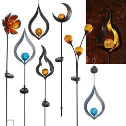 Métal Design LED Tige de Jardin Glas-Kugel Lampe Solaire Lu